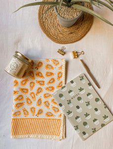 Papaya Blockprint Tea Towel