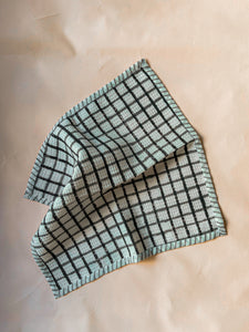 Black Checks Blockprint Dish Towel Set of 2