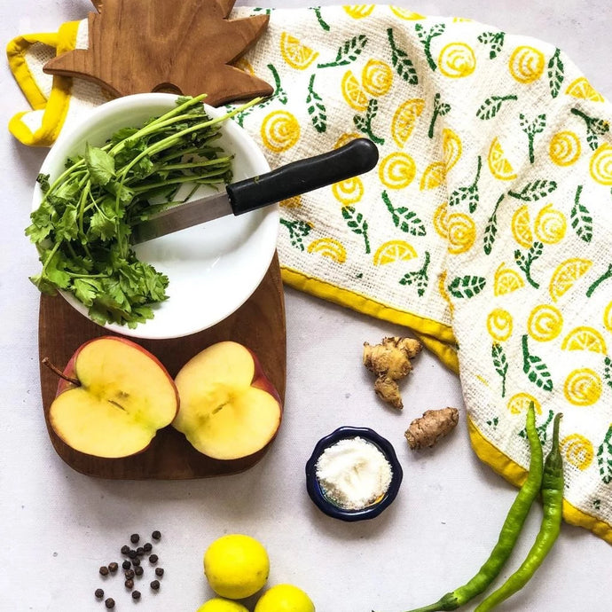 Yellow & Green Blockprinted Lemon Tea Towel Set