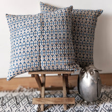 Load image into Gallery viewer, White & Indigo Abstract Tassar Ghicha Silk Handloom Cushion Cover