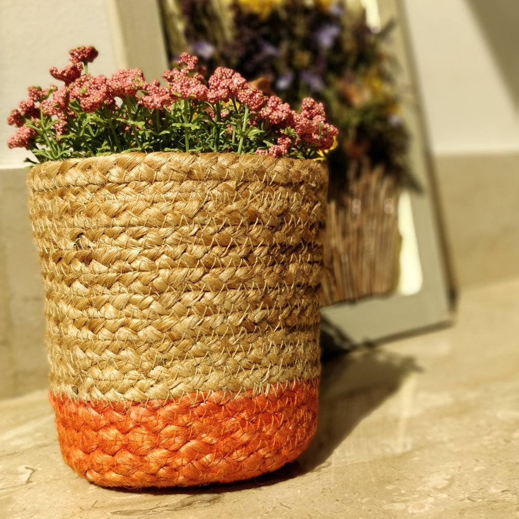 Orange Jute Planter Cum Storage Basket (S,M,L)