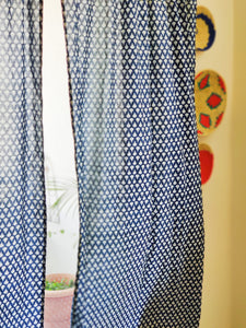 Indigo Tear Drop Semi Sheer Curtain