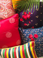 Load image into Gallery viewer, Blue and Pink Floral Blockprint Mashru Silk Cushion Cover