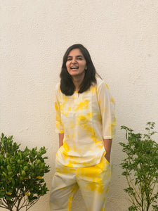Yellow Tie Dye Loungewear Pyjama Set