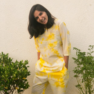 yellow tie dye loungewear
