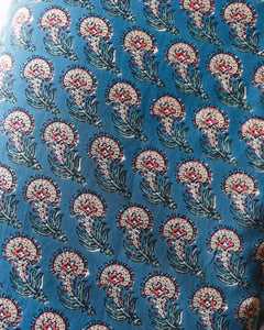 Blue Paisley Blockprint Cotton Fabric (min. 2m)