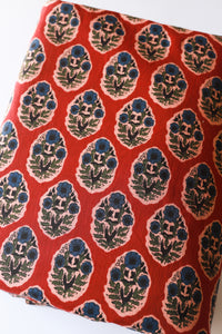 Red Awadhi Blockprint Cotton Fabric (min. 2m)