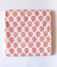 Load image into Gallery viewer, Pink and Yellow Floral Blockprint Cotton Fabric (min. 2m)