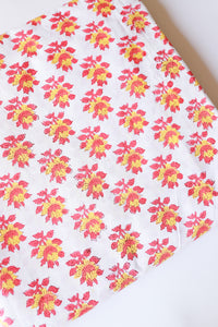 Pink and Yellow Floral Blockprint Cotton Fabric (min. 2m)