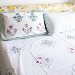 floral mesh double bed bedsheet