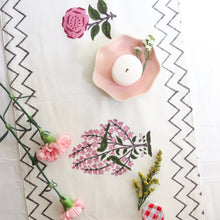 Load image into Gallery viewer, Pink Floral Blockprint Table Runner