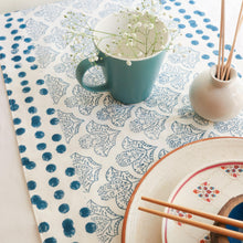 Load image into Gallery viewer, Blue Abstract Design Blockprint Cotton Table Runner
