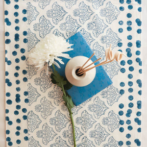 Blue Abstract Design Blockprint Cotton Table Runner