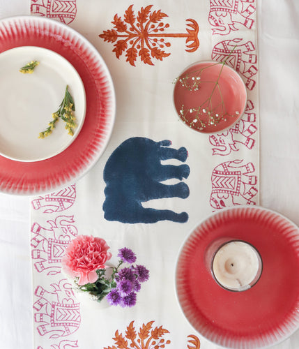 Pink Elle Blockprint Cotton Table Runner