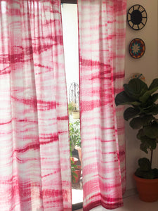 Pink Hand Tie Dye Curtains