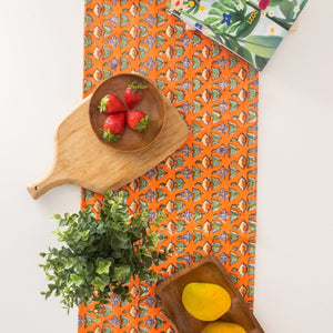 orange floral table runner