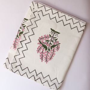 Pink Floral Blockprint Table Runner