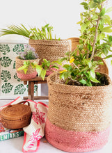 Load image into Gallery viewer, pink jute storage basket