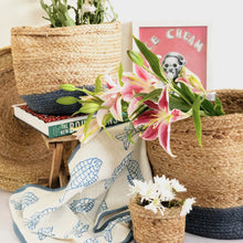 Load image into Gallery viewer, Blue jute planter storage basket