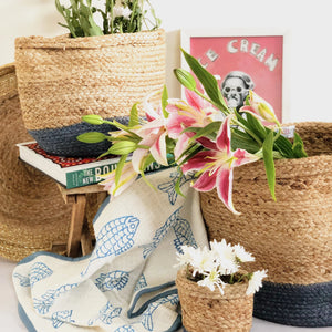 Blue jute planter storage basket