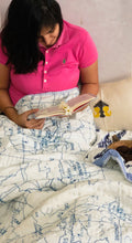 Load image into Gallery viewer, The Traveler Map Double Bed Jaipuri Reversible Quilt Set