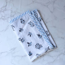 Load image into Gallery viewer, Blue & White Floral Blockprint Cotton Tea Towel cum Dinner Napkin