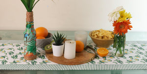 Avocado Blockprint Table Runner