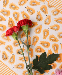 Papaya Blockprint Table Runner