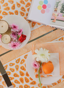 Papaya Blockprint Placemats and Napkins
