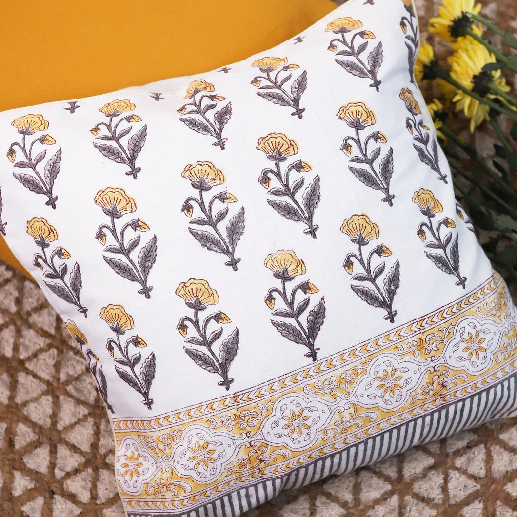 yellow buti cushion cover