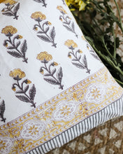 Load image into Gallery viewer, Dopahar Yellow Sanganeri Buti Cushion Cover