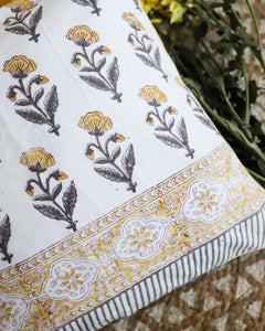 Dopahar Yellow Sanganeri Buti Cushion Cover