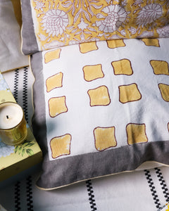 Dopahar Yellow Abstract Square Cushion Cover