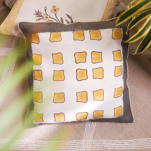 abstract square yellow cushion