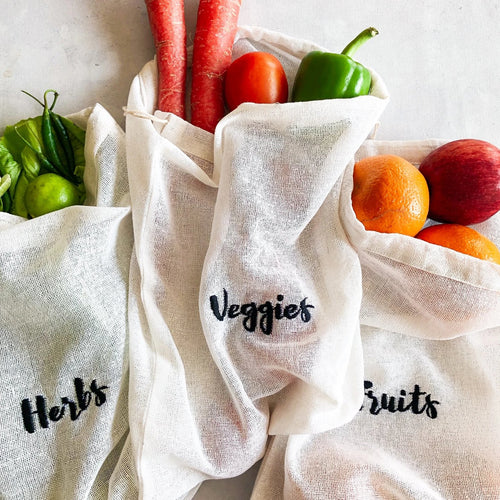 Cotton Reusable Embroidered Grocery Bags
