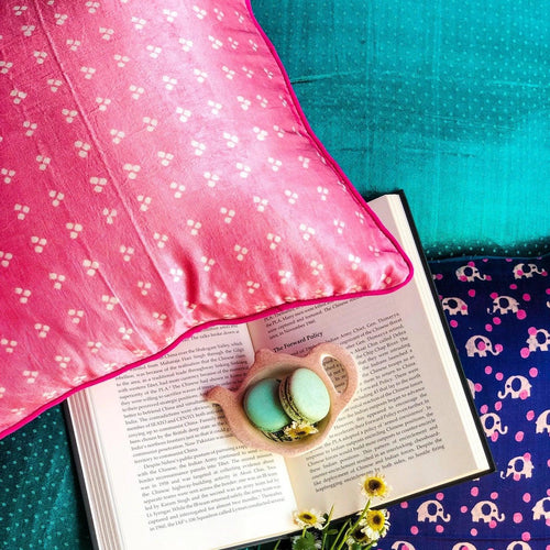 Baby Pink Bandhni Mashru Silk Cushion Cover