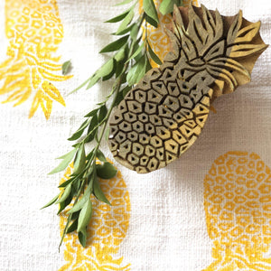 Yellow Blockprinted Pineapple Tea Towel Set (1 pc, set of 2)