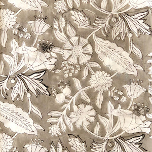 Grey Jaal Print Floral Cotton Fabric