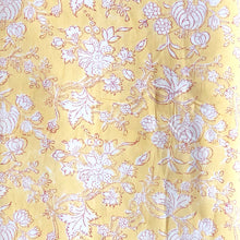 Load image into Gallery viewer, Yellow Floral Dream Blockprint Cotton Fabric 2m