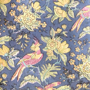 Blue Birdsong Blockprint Cotton Fabric