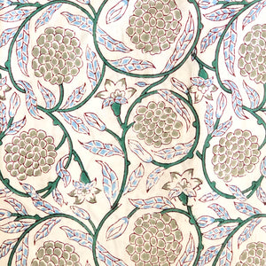 White Custard Blockprint Cotton Fabric