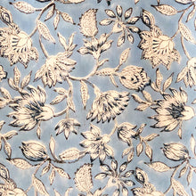 Load image into Gallery viewer, Blue English Floral Blockprint Cotton Fabric