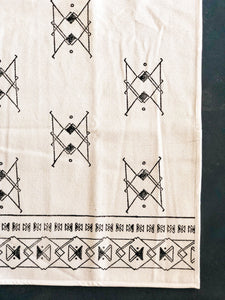 Black and White Blockprinted Cotton Rug