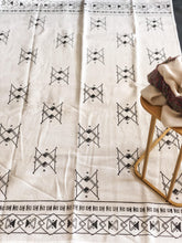 Load image into Gallery viewer, Black and White Blockprinted Cotton Rug