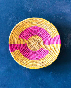 Pink & Yellow Sabai Handwoven Grass Basket