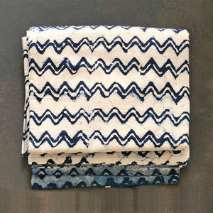 Indigo Dabu White Chevron Print Fabric