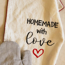 Load image into Gallery viewer, Homemade with Love Embroidered Cotton Tea Towel