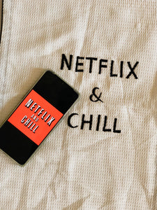 Netflix and Chill Embroidered Cotton Tea Towel