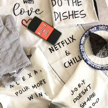 Load image into Gallery viewer, Netflix and Chill Embroidered Cotton Tea Towel