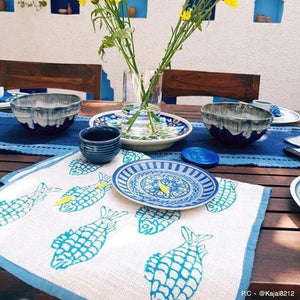 Blue Blockprinted Fish Tea Towel Set